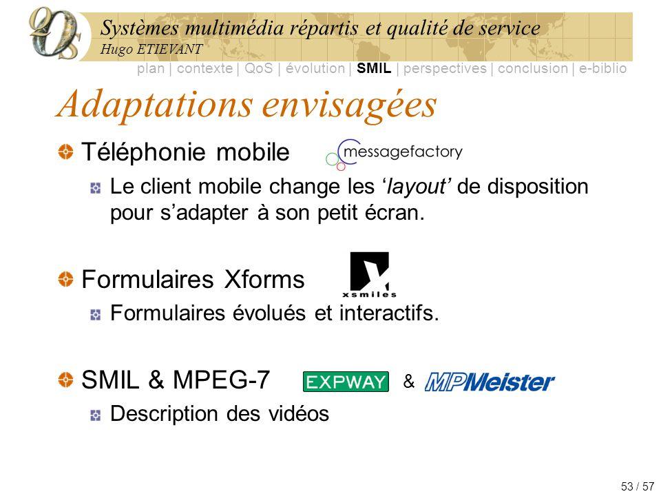 Systèmes multimédia répartis et qualité de service Hugo ETIEVANT 53 / 57 Adaptations envisagées Téléphonie mobile Le client mobile change les layout d