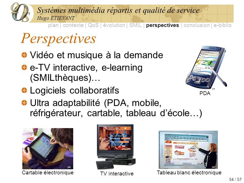 Systèmes multimédia répartis et qualité de service Hugo ETIEVANT 54 / 57 Perspectives Vidéo et musique à la demande e-TV interactive, e-learning (SMIL