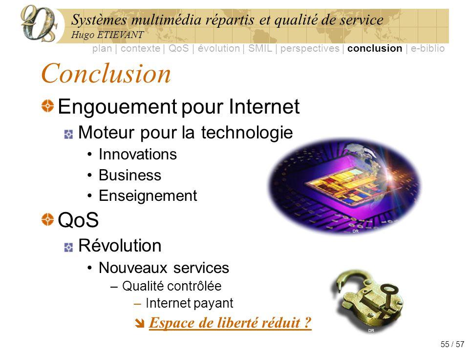 Systèmes multimédia répartis et qualité de service Hugo ETIEVANT 55 / 57 Conclusion Engouement pour Internet Moteur pour la technologie Innovations Bu