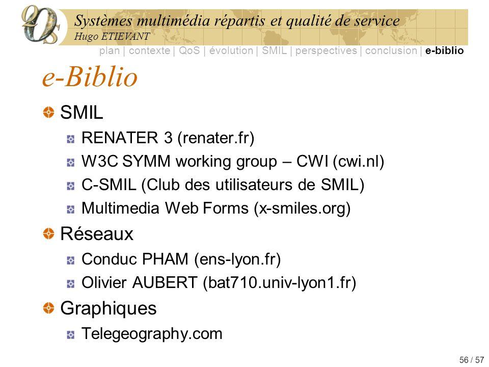 Systèmes multimédia répartis et qualité de service Hugo ETIEVANT 56 / 57 e-Biblio SMIL RENATER 3 (renater.fr) W3C SYMM working group – CWI (cwi.nl) C-