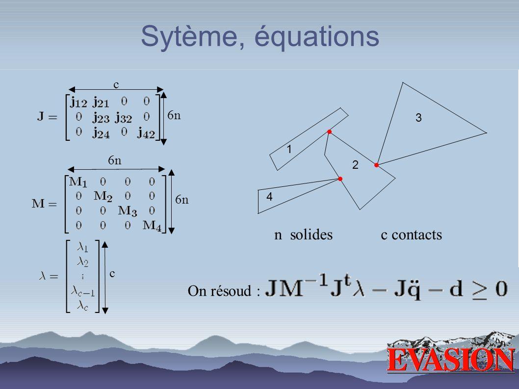 Sytème, équations 1 2 3 4 n solides c contacts 6n c On résoud : 6n c