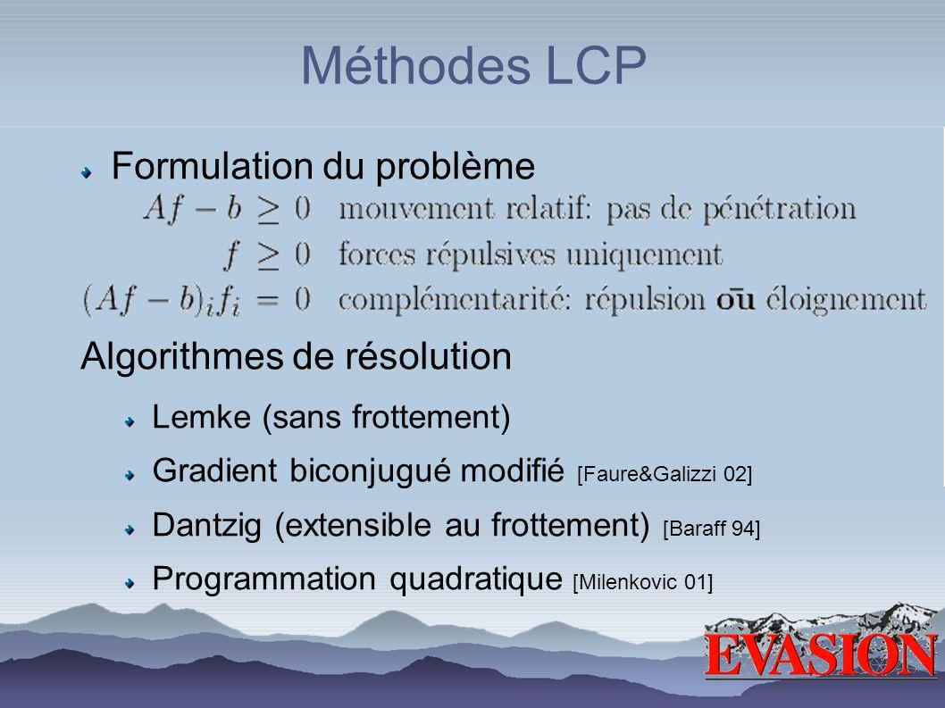 Méthodes LCP Formulation du problème Algorithmes de résolution Lemke (sans frottement) Gradient biconjugué modifié [Faure&Galizzi 02] Dantzig (extensible au frottement) [Baraff 94] Programmation quadratique [Milenkovic 01]