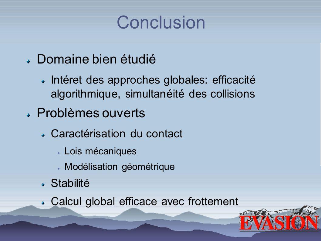 Conclusion Domaine bien étudié Intéret des approches globales: efficacité algorithmique, simultanéité des collisions Problèmes ouverts Caractérisation