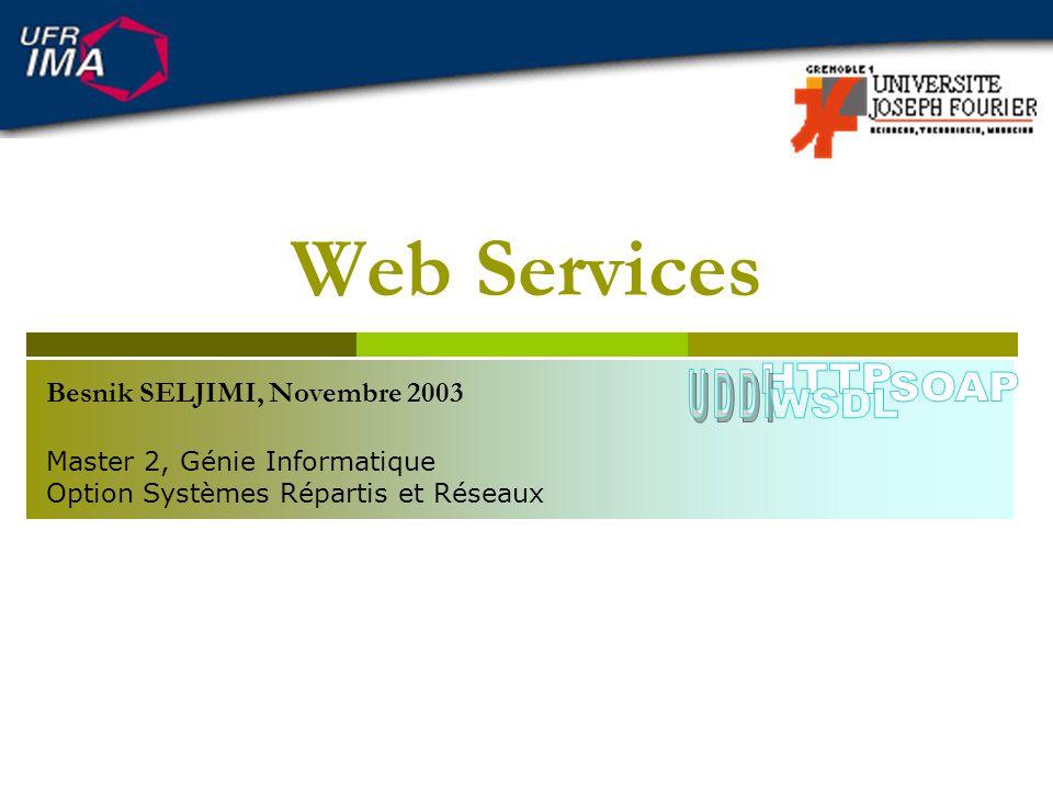 Programmation des Web Services LAPI JAX-RPC Création du service ServiceFactory factory = ServiceFactory.newInstance(); Service service = factory.createService(new QName(_service)); Création dun objet Call Call call = service.createCall(new QName(_port)); Préparation de la requête call.setTargetEndpointAddress(_endpoint); call.setOperationName(new QName(_namespace,_operation)); call.setProperty( javax.xml.rpc.encodingstyle.namespace.url«, NamespaceConstants.NSURI_SOAP_ENCODING); Web Services Besnik SELJIMI, 2003