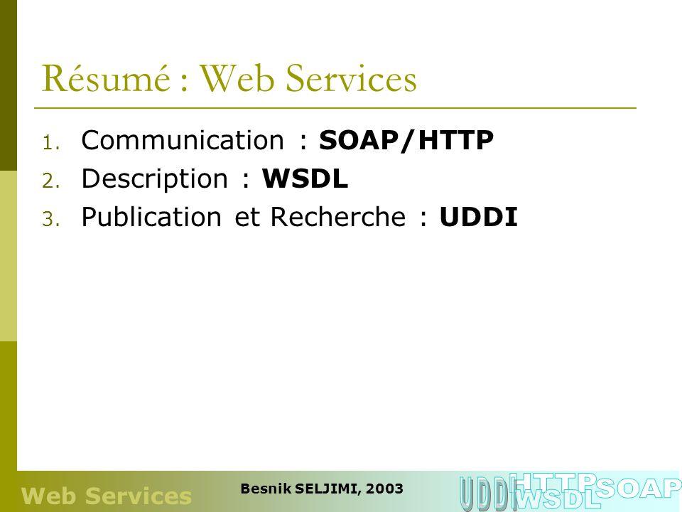 Résumé : Web Services 1. Communication : SOAP/HTTP 2. Description : WSDL 3. Publication et Recherche : UDDI Web Services Besnik SELJIMI, 2003