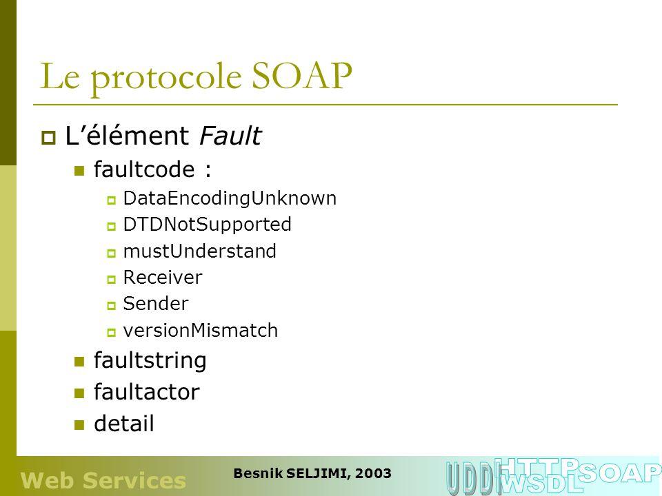 Le protocole SOAP Lélément Fault faultcode : DataEncodingUnknown DTDNotSupported mustUnderstand Receiver Sender versionMismatch faultstring faultactor
