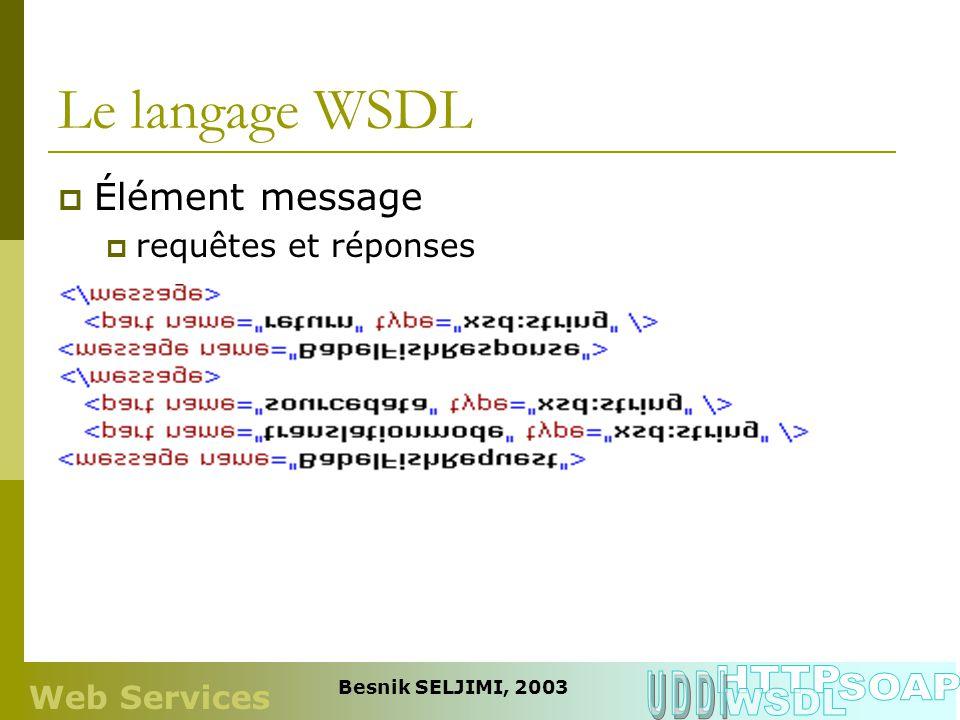 Le langage WSDL Élément message requêtes et réponses Web Services Besnik SELJIMI, 2003