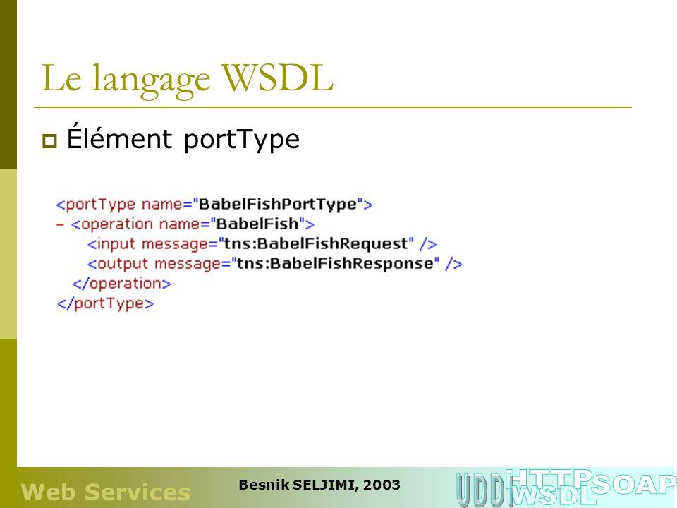 Le langage WSDL Élément portType Web Services Besnik SELJIMI, 2003