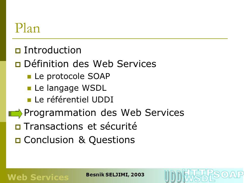 Plan Introduction Définition des Web Services Le protocole SOAP Le langage WSDL Le référentiel UDDI Programmation des Web Services Transactions et séc