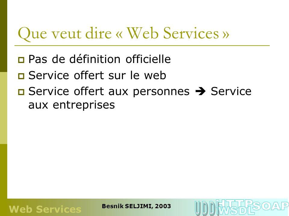 Que veut dire « Web Services » Pas de définition officielle Service offert sur le web Service offert aux personnes Service aux entreprises Web Service