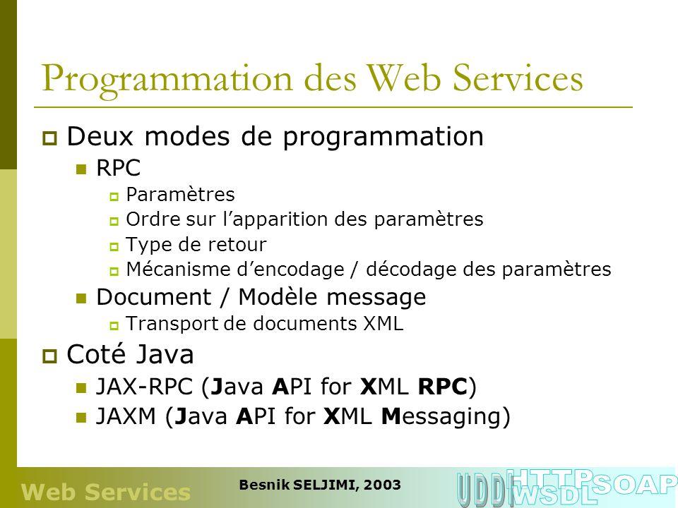 Programmation des Web Services Deux modes de programmation RPC Paramètres Ordre sur lapparition des paramètres Type de retour Mécanisme dencodage / dé