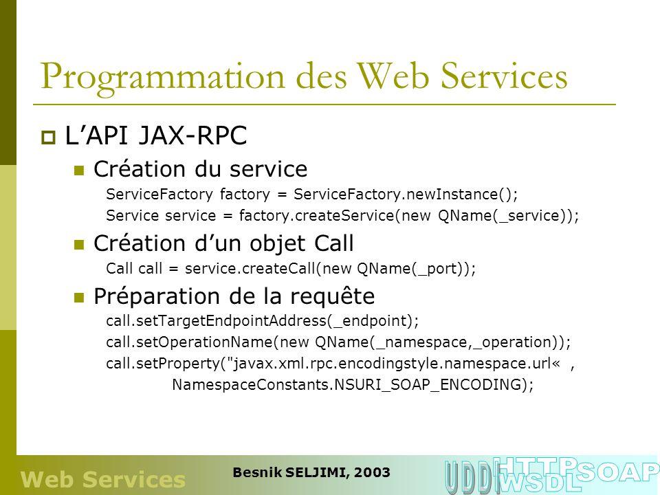 Programmation des Web Services LAPI JAX-RPC Création du service ServiceFactory factory = ServiceFactory.newInstance(); Service service = factory.creat
