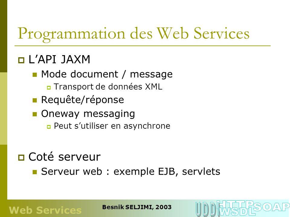 Programmation des Web Services LAPI JAXM Mode document / message Transport de données XML Requête/réponse Oneway messaging Peut sutiliser en asynchron
