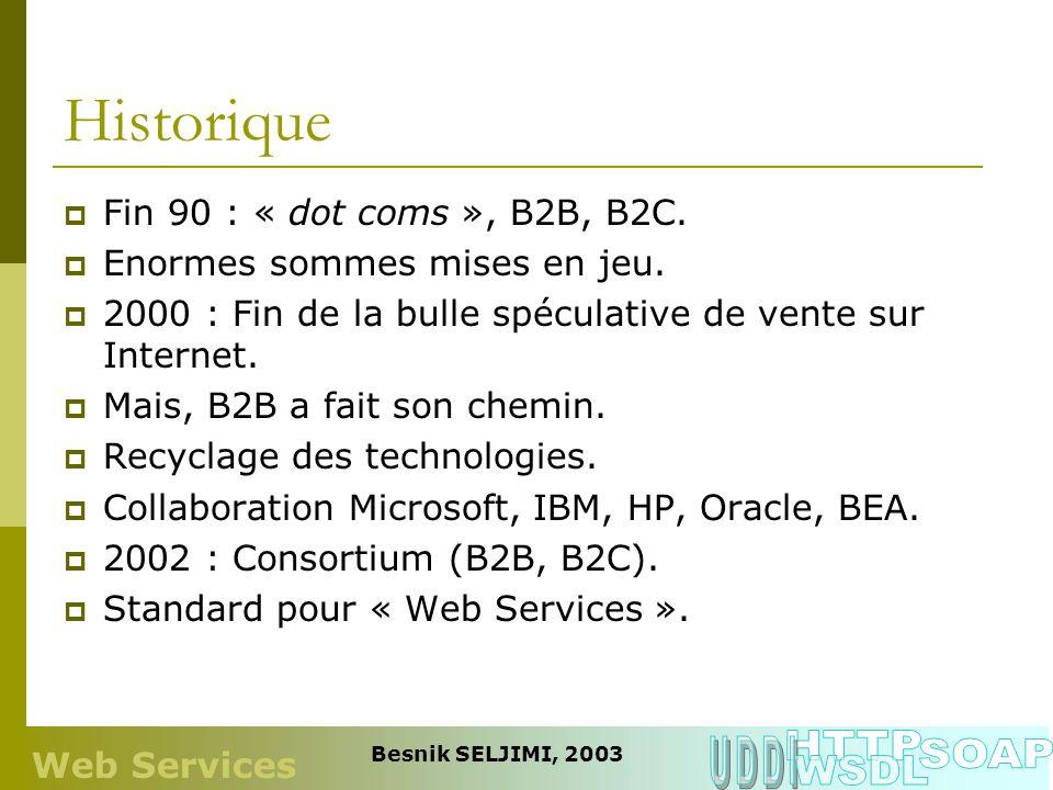 Historique Fin 90 : « dot coms », B2B, B2C. Enormes sommes mises en jeu. 2000 : Fin de la bulle spéculative de vente sur Internet. Mais, B2B a fait so