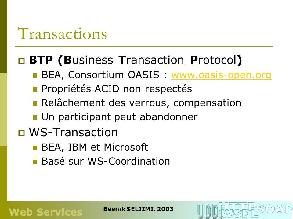 Transactions BTP (Business Transaction Protocol) BEA, Consortium OASIS : www.oasis-open.orgwww.oasis-open.org Propriétés ACID non respectés Relâchemen