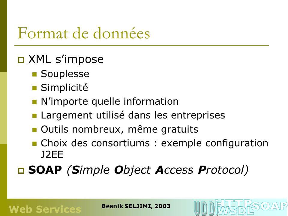 Protocole de communication Rien qui est imposé Mais HTTP recommandé Largement accepté Capacité de nombreux échanges Tolérance aux fautes Adapté pour les textes (XML) Intégration avec les firewall SMTP en option Web Services Besnik SELJIMI, 2003