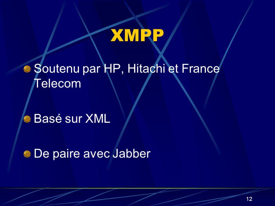 12 XMPP Soutenu par HP, Hitachi et France Telecom Basé sur XML De paire avec Jabber