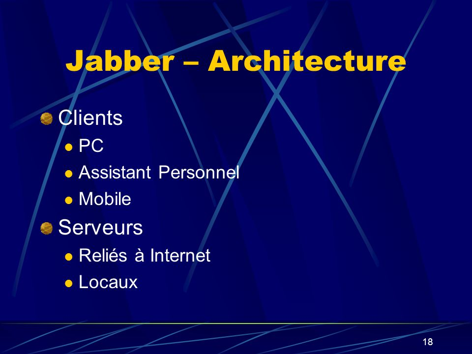18 Jabber – Architecture Clients PC Assistant Personnel Mobile Serveurs Reliés à Internet Locaux