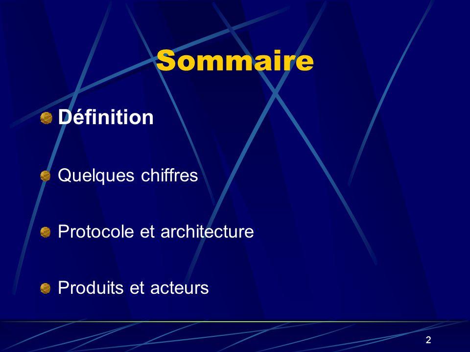 2 Sommaire Définition Quelques chiffres Protocole et architecture Produits et acteurs