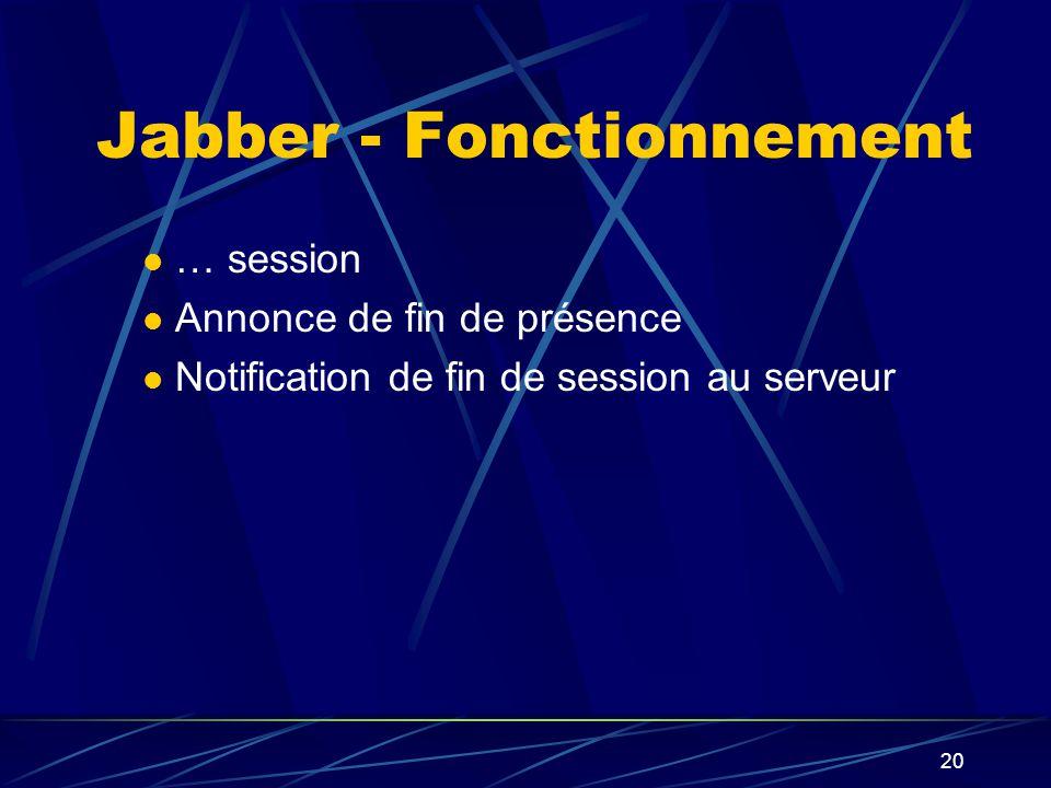 20 … session Annonce de fin de présence Notification de fin de session au serveur Jabber - Fonctionnement