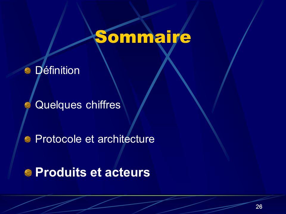 26 Sommaire Définition Quelques chiffres Protocole et architecture Produits et acteurs
