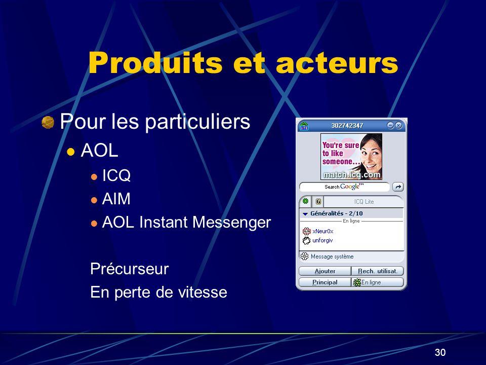 30 Produits et acteurs Pour les particuliers AOL ICQ AIM AOL Instant Messenger Précurseur En perte de vitesse