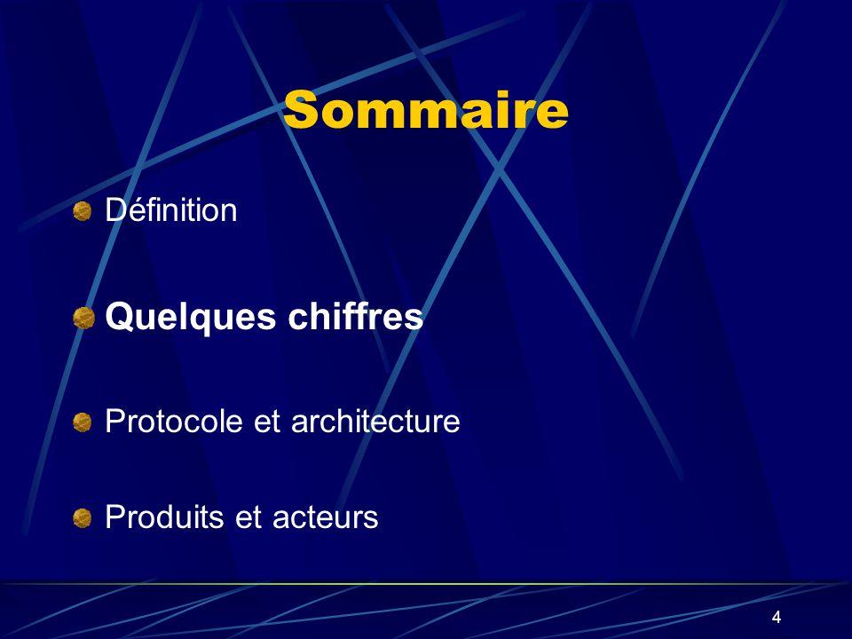 4 Sommaire Définition Quelques chiffres Protocole et architecture Produits et acteurs