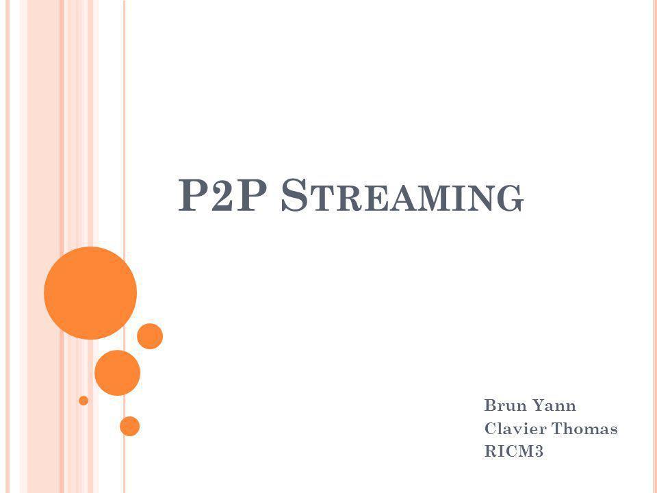 P2P S TREAMING P LAN I ) Introduction II) Histoire et généralités Le P2P Le streaming III) Fonctionnement du P2P Streaming Architecture Fonctionnement général Mécanisme du tampon IV) Etude comparative de 2 logiciels : TVAnts et Sopcast V) Conclusion