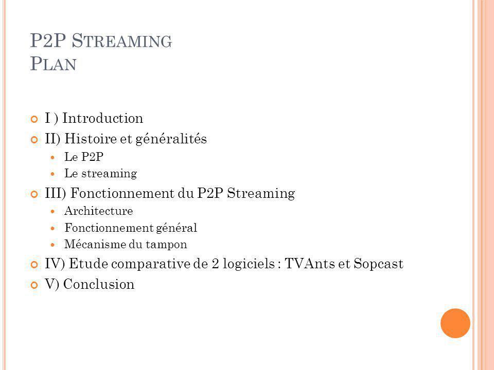 I ) I NTRODUCTION P2P très connu du public Souvent généralisé au téléchargement via Edonkey,… Dautres applications moins connues : streaming video ou audio