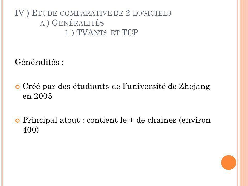 IV ) E TUDE COMPARATIVE DE 2 LOGICIELS A ) G ÉNÉRALITÉS 1 ) TVA NTS ET TCP Protocole: Utilise TCP pour tous les échanges de données