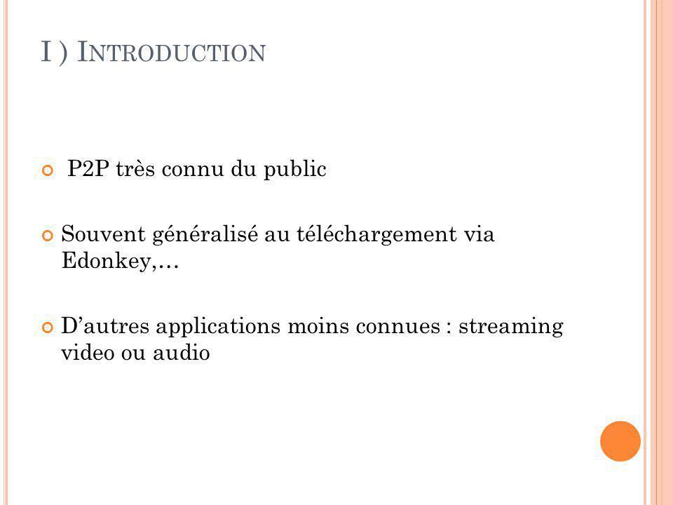 II ) H ISTOIRE ET GÉNÉRALITÉS P LAN A) Le P2P 1 ) histoire 2 ) généralités B) Le streaming 1 ) histoire 2 ) généralités