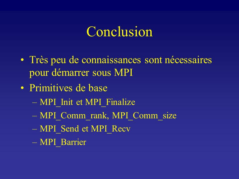 Conclusion Très peu de connaissances sont nécessaires pour démarrer sous MPI Primitives de base –MPI_Init et MPI_Finalize –MPI_Comm_rank, MPI_Comm_size –MPI_Send et MPI_Recv –MPI_Barrier
