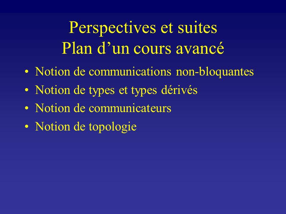 Perspectives et suites Plan dun cours avancé Notion de communications non-bloquantes Notion de types et types dérivés Notion de communicateurs Notion de topologie