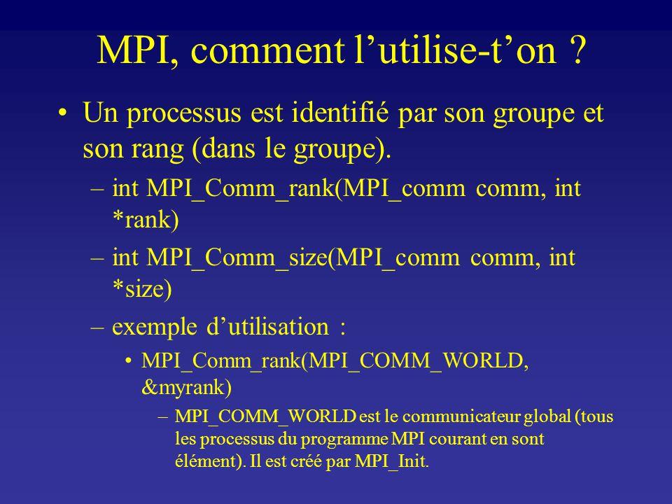 MPI, comment lutilise-ton . Un processus est identifié par son groupe et son rang (dans le groupe).