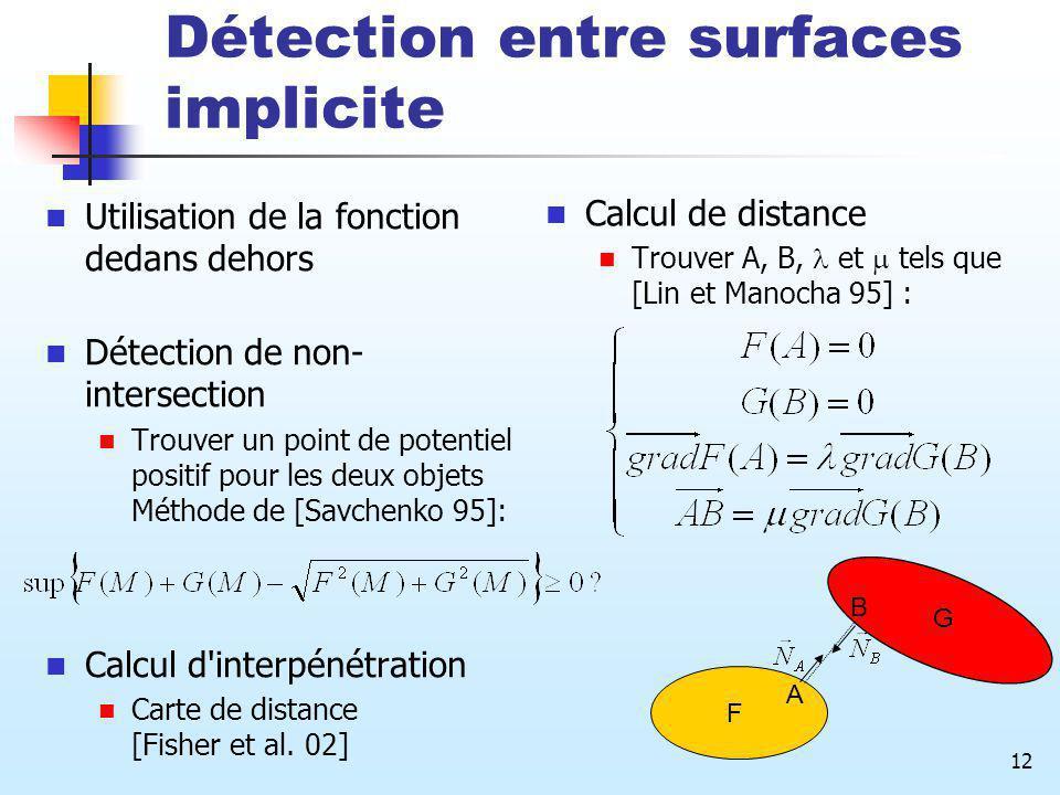 12 Détection entre surfaces implicite Utilisation de la fonction dedans dehors Détection de non- intersection Trouver un point de potentiel positif po