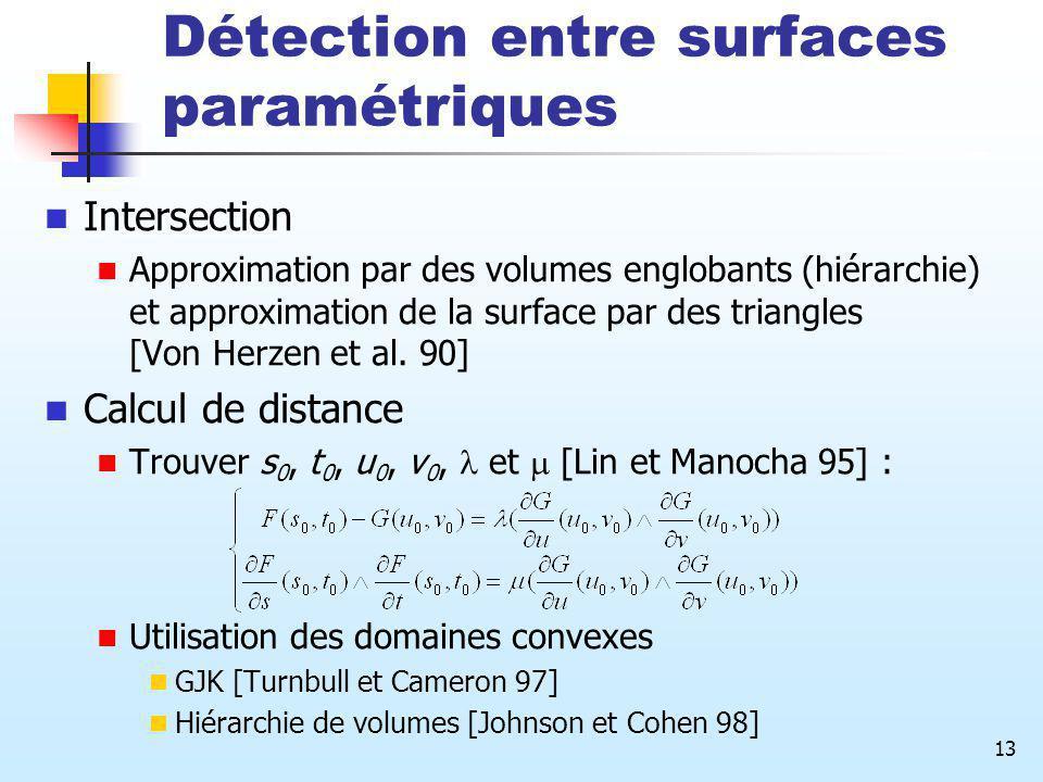 13 Détection entre surfaces paramétriques Intersection Approximation par des volumes englobants (hiérarchie) et approximation de la surface par des tr