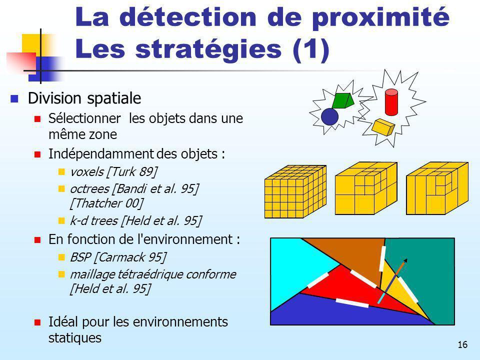 16 La détection de proximité Les stratégies (1) Division spatiale Sélectionner les objets dans une même zone Indépendamment des objets : voxels [Turk