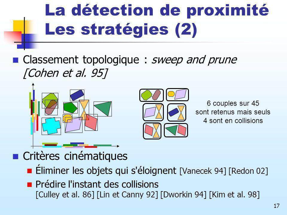 17 La détection de proximité Les stratégies (2) Classement topologique : sweep and prune [Cohen et al. 95] Critères cinématiques Éliminer les objets q