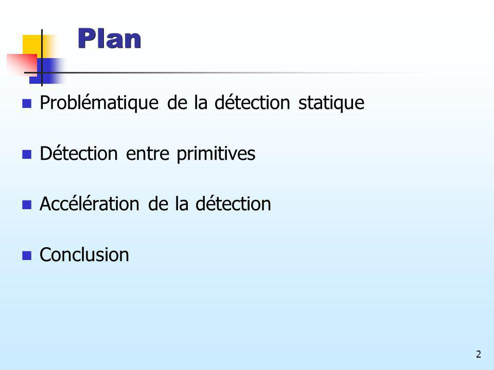 2 Plan Problématique de la détection statique Détection entre primitives Accélération de la détection Conclusion