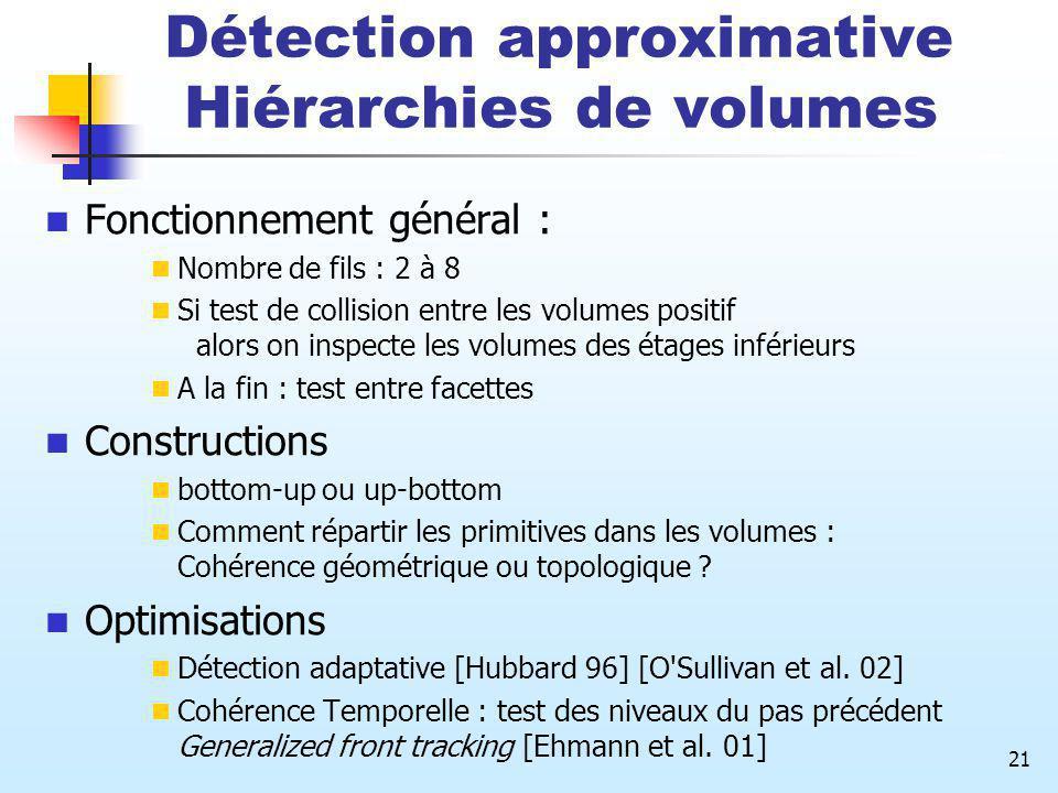 21 Détection approximative Hiérarchies de volumes Fonctionnement général : Nombre de fils : 2 à 8 Si test de collision entre les volumes positif alors