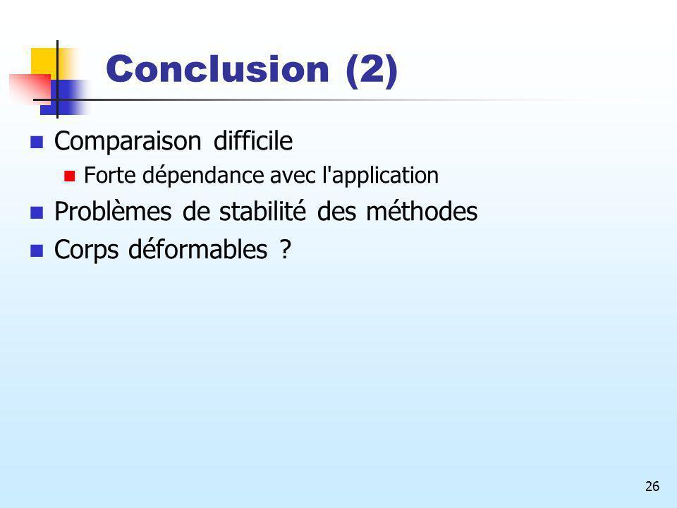 26 Conclusion (2) Comparaison difficile Forte dépendance avec l'application Problèmes de stabilité des méthodes Corps déformables ?