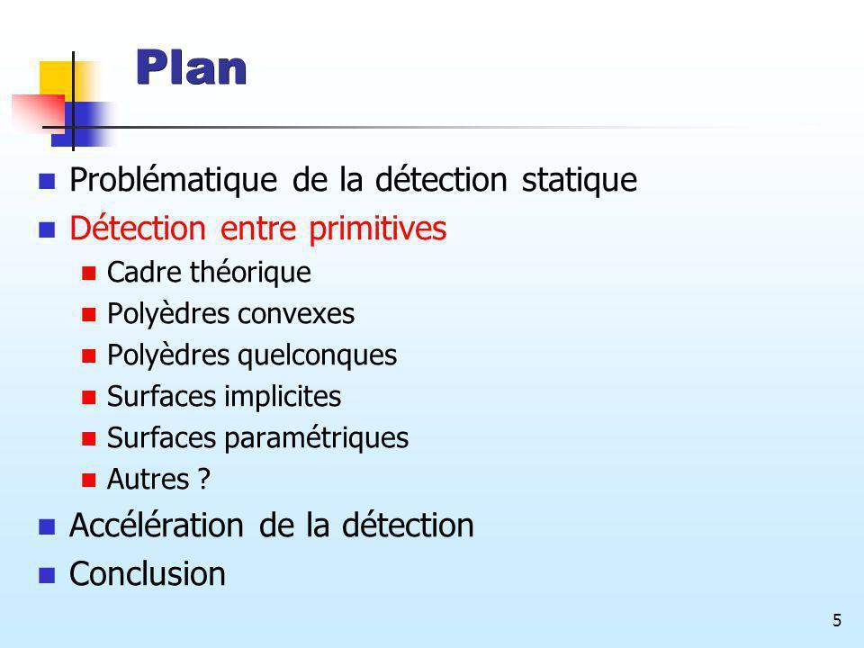 5 Plan Problématique de la détection statique Détection entre primitives Cadre théorique Polyèdres convexes Polyèdres quelconques Surfaces implicites