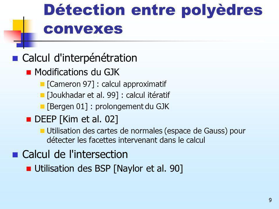 9 Détection entre polyèdres convexes Calcul d'interpénétration Modifications du GJK [Cameron 97] : calcul approximatif [Joukhadar et al. 99] : calcul