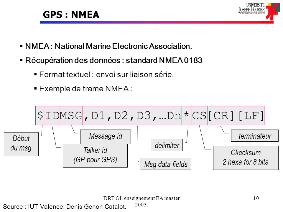 DRT GI.enseignement EA master 2003. 10 GPS : NMEA NMEA : National Marine Electronic Association.