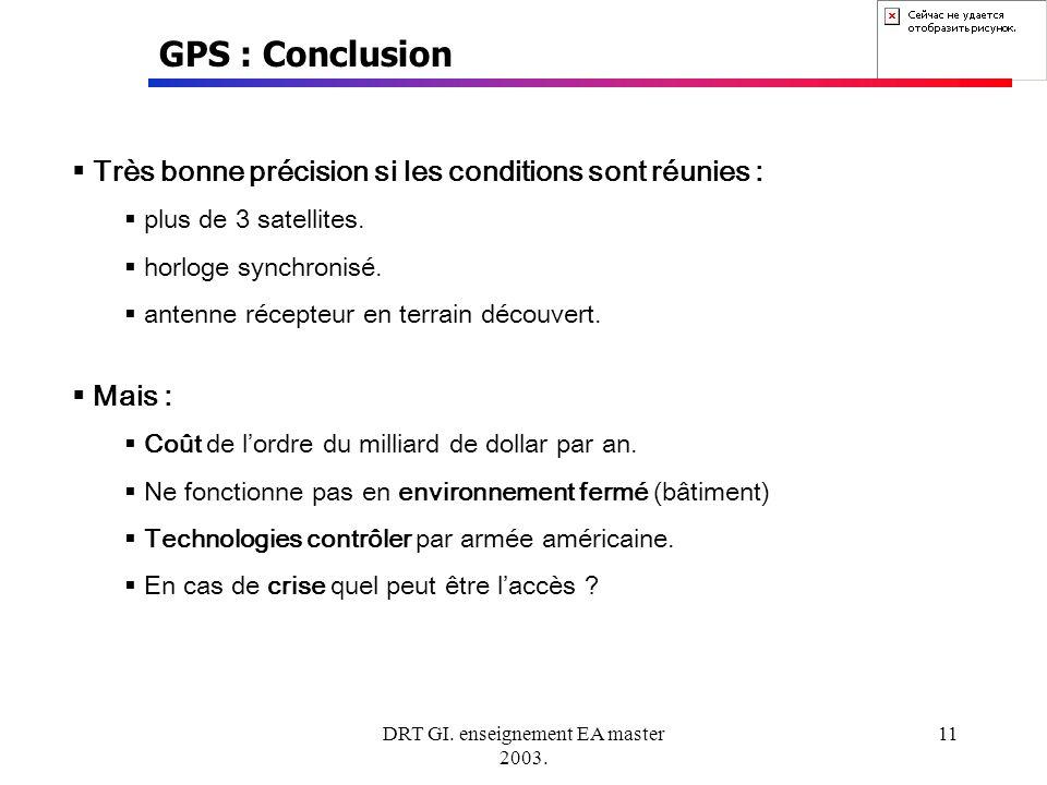 DRT GI. enseignement EA master 2003. 11 GPS : Conclusion Très bonne précision si les conditions sont réunies : plus de 3 satellites. horloge synchroni