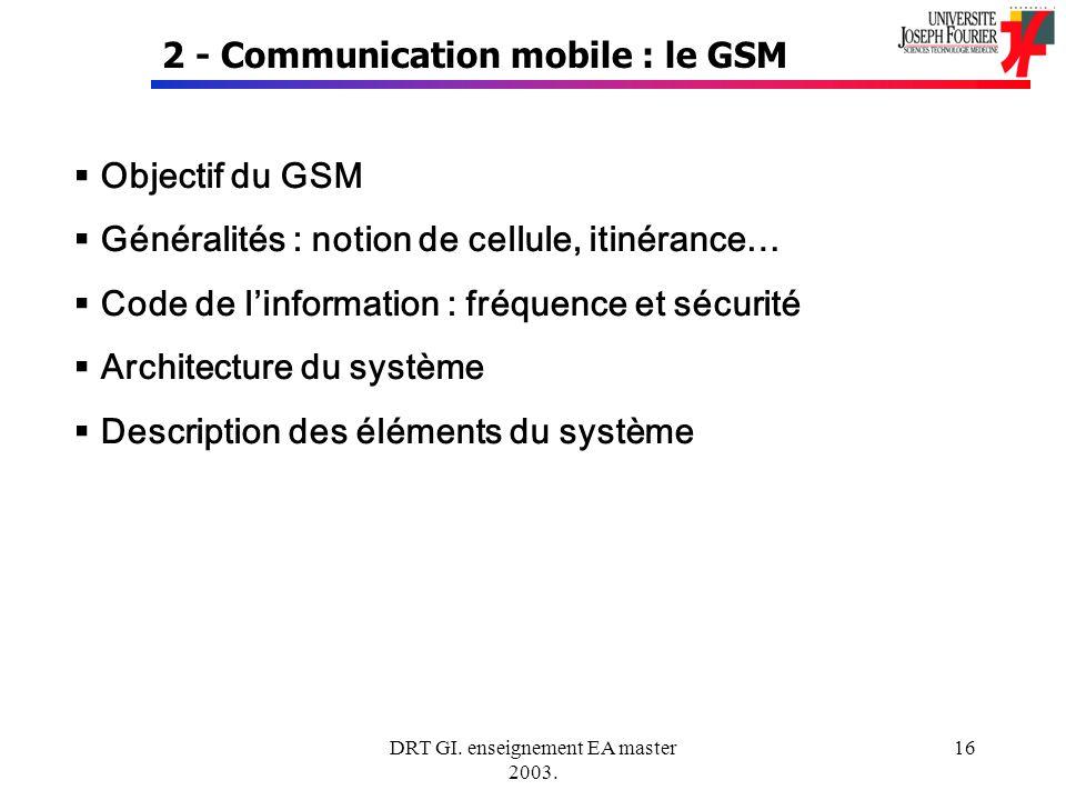 DRT GI. enseignement EA master 2003. 16 2 - Communication mobile : le GSM Objectif du GSM Généralités : notion de cellule, itinérance… Code de linform