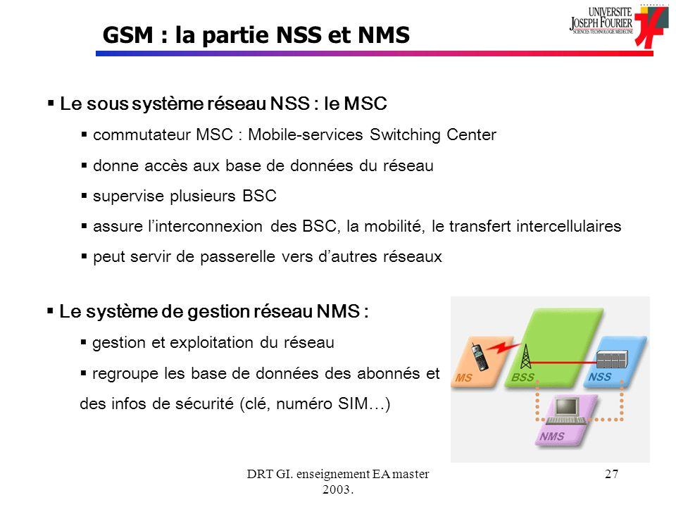 DRT GI. enseignement EA master 2003. 27 GSM : la partie NSS et NMS Le sous système réseau NSS : le MSC commutateur MSC : Mobile-services Switching Cen