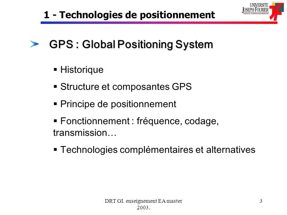 DRT GI. enseignement EA master 2003. 3 1 - Technologies de positionnement GPS : Global Positioning System Historique Structure et composantes GPS Prin