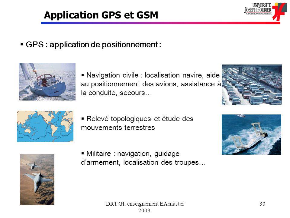DRT GI. enseignement EA master 2003. 30 Application GPS et GSM GPS : application de positionnement : Navigation civile : localisation navire, aide au