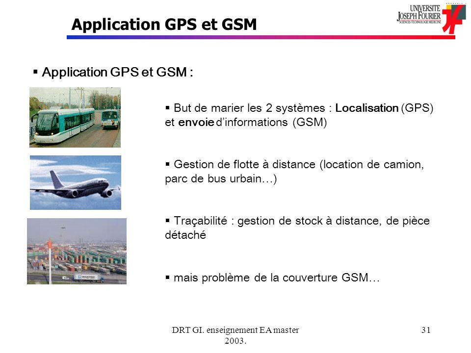 DRT GI. enseignement EA master 2003. 31 Application GPS et GSM Application GPS et GSM : But de marier les 2 systèmes : Localisation (GPS) et envoie di